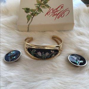 Flower Earrings & bracelet set black & gold